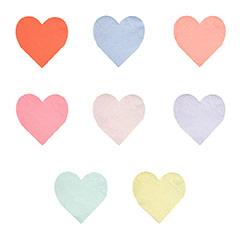 Servilletas forma de corazón de colores variados, de 13,00 x 10,50 cm. Pack 20 u.