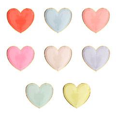 Platos forma de corazón colores pastel borde dorado 19,00 cm, Pack 8 u.