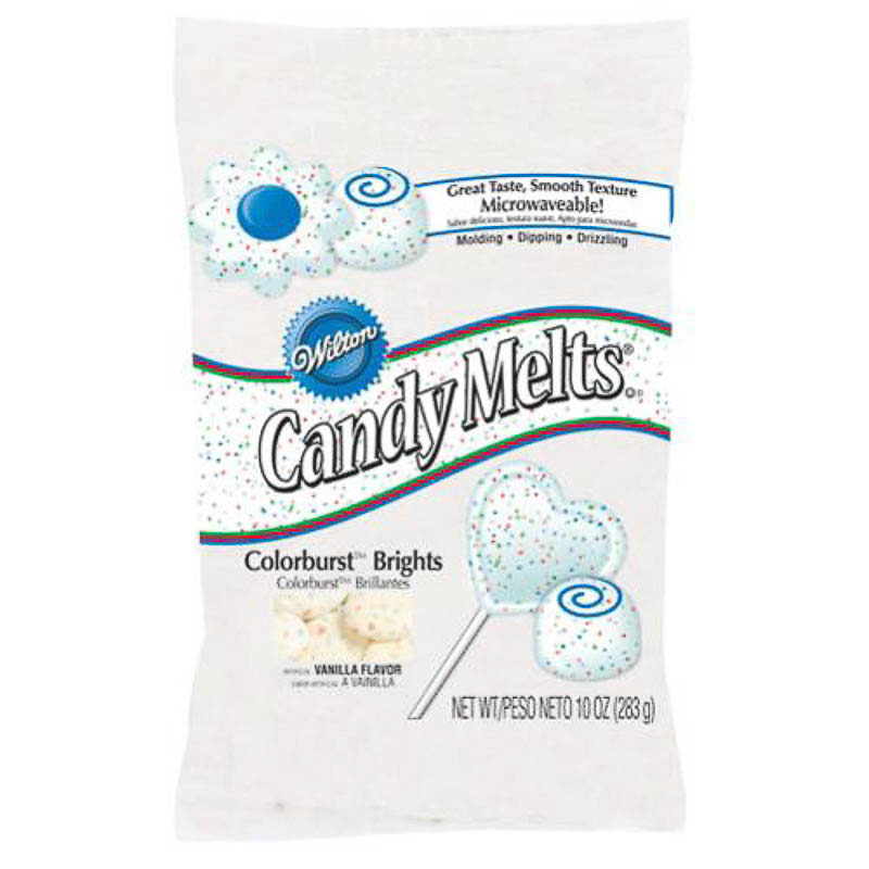 Candy Melts Wilton blanco con puntitos de colores