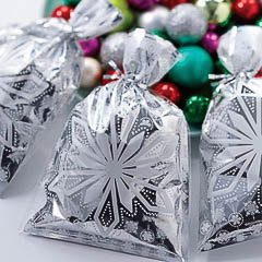 Bolsas metalizadas copos de nieve golosinas y galletas, Pack 20 u. - Ítem