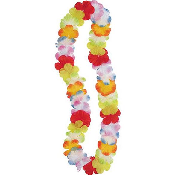 Collar hawaiano de flores de tela multicolor