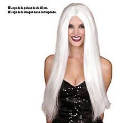 Peluca blanca larga lisa