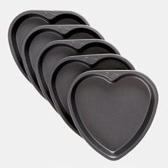 Moldes antiadherente para tarta con forma de corazón, 5 u