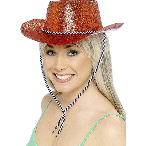Sombrero vaquero plástico purpurina rojo