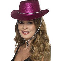 Sombrero vaquero plástico purpurina fucsia