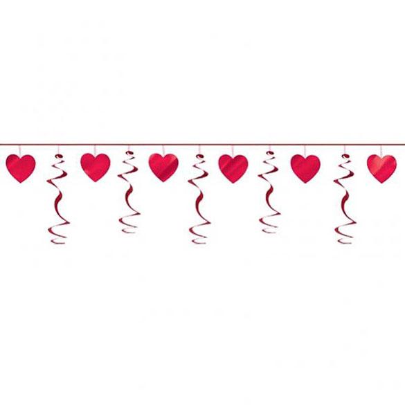 Guirnalda corazones y serpentinas