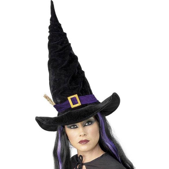 Sombrero de bruja largo de terciopelo