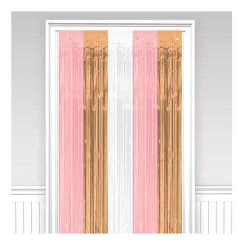 Cortina puerta metálica tricolor