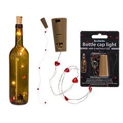 Tapón para botella con 5 LEDs forma corazón