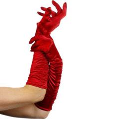 Guantes rojos de tela fruncida largos adulto