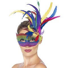 Antifaz veneciano multicolor con plumas
