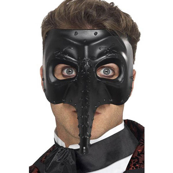 Antifaz veneciano capitán gótico negro