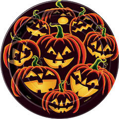 Platos Calabazas Halloween 17,50 cm, Pack 8 u.