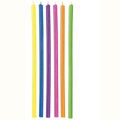 Velas largas de cumpleaños multicolor, Pack 12 u.