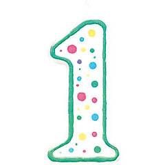 Vela cumpleaños número 1 borde verde y lunares