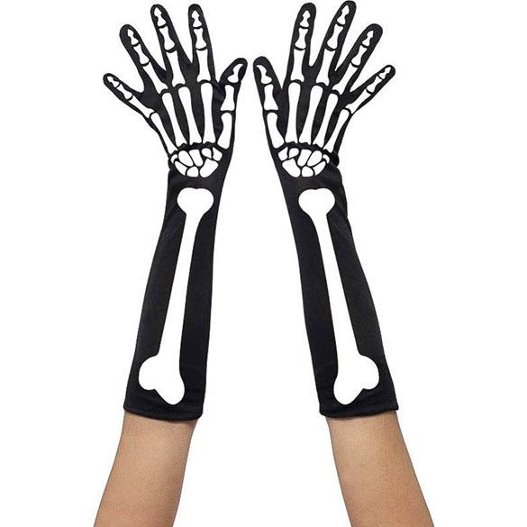 Guantes esqueleto largos adulto