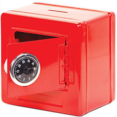 Hucha caja fuerte roja