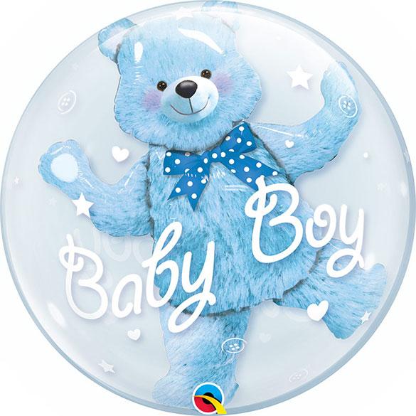 Globo Burbujay Osito azul celeste doble
