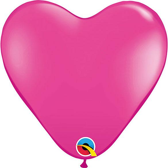 Globos fucsia forma corazón, Bolsa 25 u