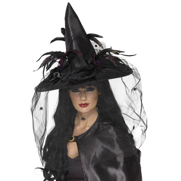 Sombrero de bruja negro con velo
