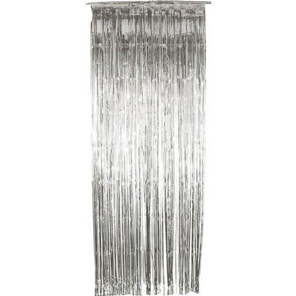 Cortina flecos puerta plateada