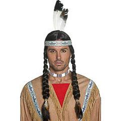 Peluca indio con tranzas y pluma