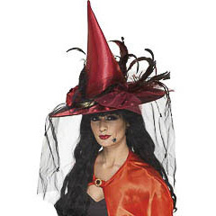 Sombrero de bruja con red y plumas