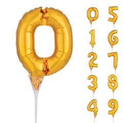 Globos micro con formas de números dorados, con copa y pincho