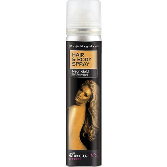 Spray cuerpo y pelo purpurina dorado