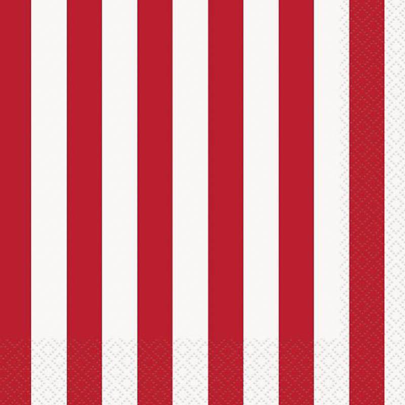 Servilletas rayas blancas y rojas 25 x 25 cm, Pack 16 u.