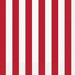 Servilletas rayas blanca y rojas 33 x 33 cm, Pack 16 u.