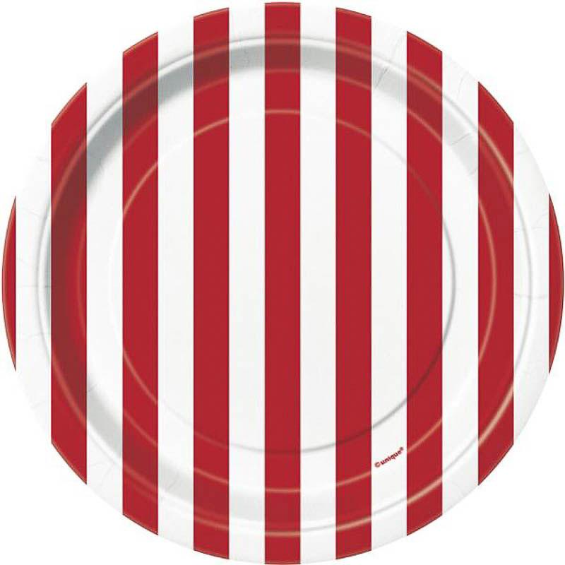 Platos rayas rojas y blancas17,50 cm, Pack 8 u.