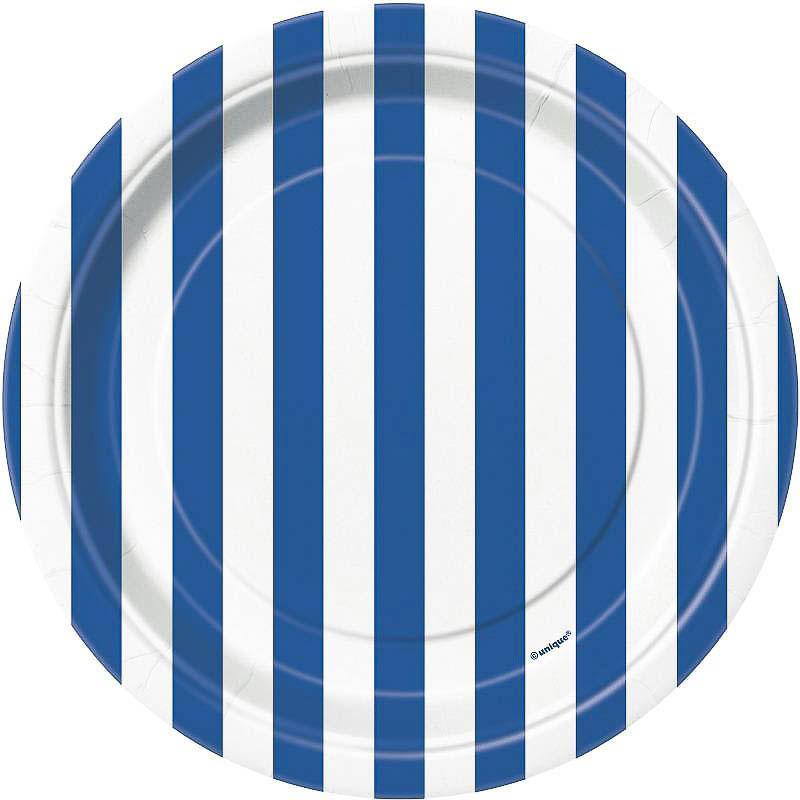 Platos rayas azules y blancas 17,50 cm, Pack 8 u.