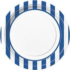 Platos rayas azules y blancas 22,50 cm, Pack 8 u.