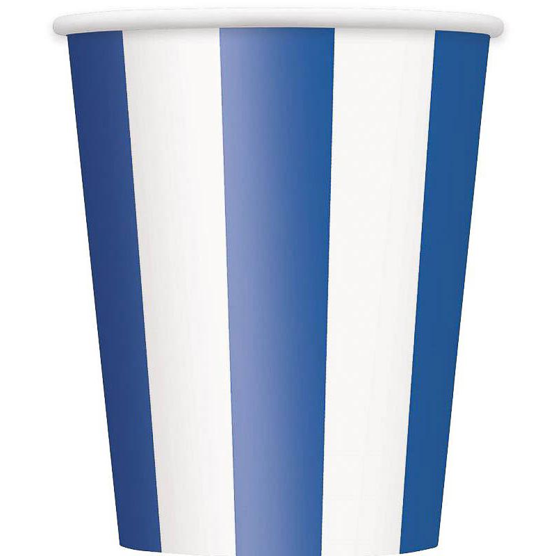 Vasos rayas azules y blancas 266 ml, Pack 8 u.