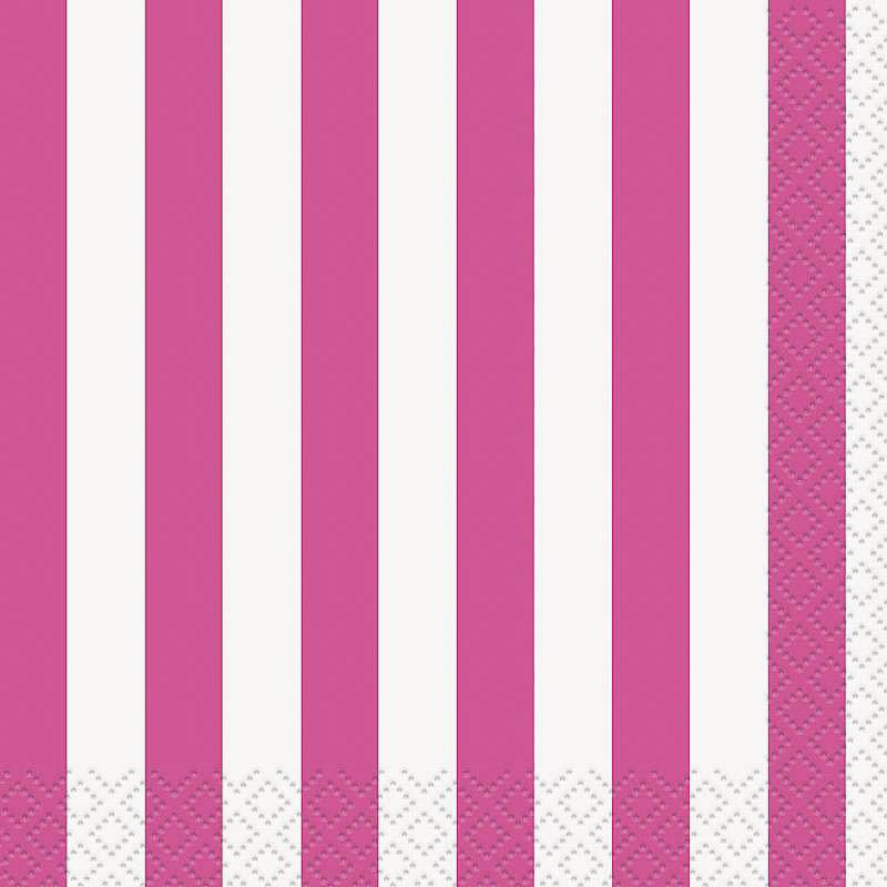 Servilletas rayas blancas y rosa 25 x 25 cm, Pack 16 u.