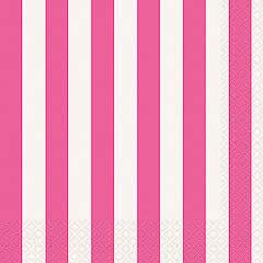 Servilletas rayas blancas y rosa 33 x 33 cm, Pack 16 u.