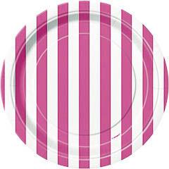 Platos rayas rosas y blancas17,50 cm, Pack 8 u.