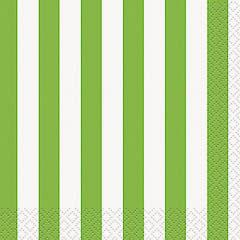 Servilletas rayas blancas y verdes 25 x 25 cm, Pack 16 u.