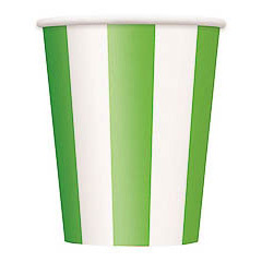 Vasos rayas verdes y blancas 266 ml, Pack 6 u.