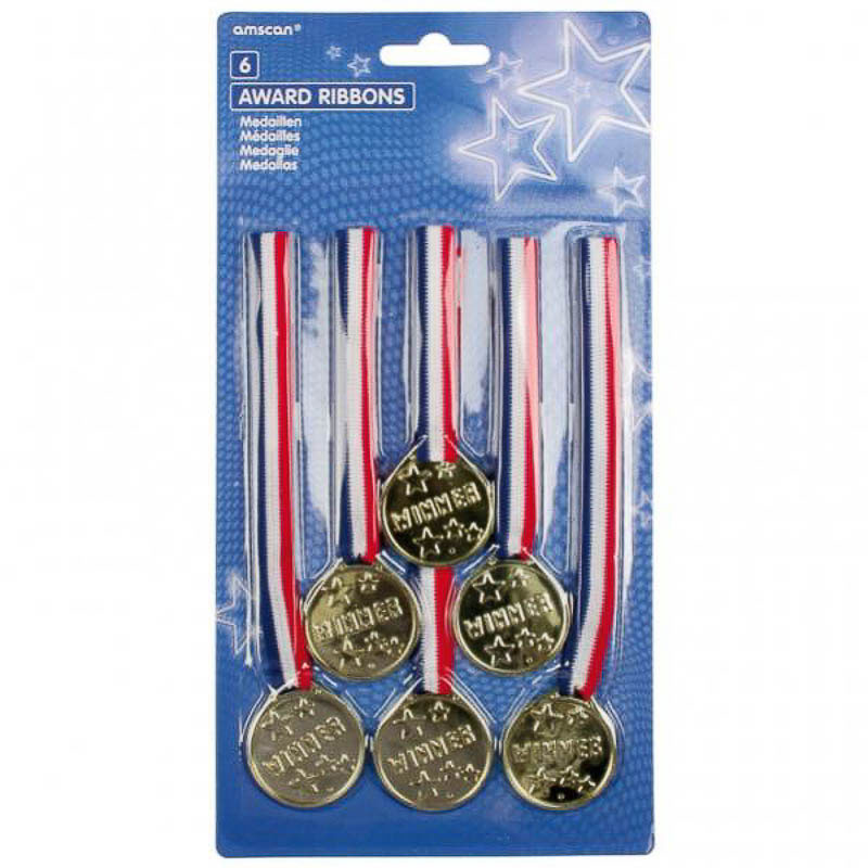 Medallas de plástico doradas con cinta, Pack 6 u.
