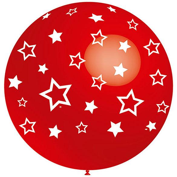 Globo rojo con estrellas blancas 91,00 cm