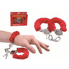 Esposas metálicas forradas de peluche rojas