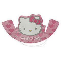 Diademas cartón cumpleaños Hello Kitty, Pack 6 u.