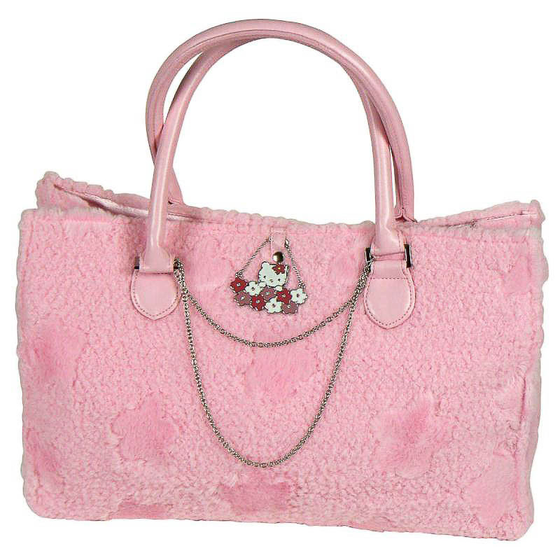 Bolso adulto 2 asas Hello Kitty de peluche color rosa