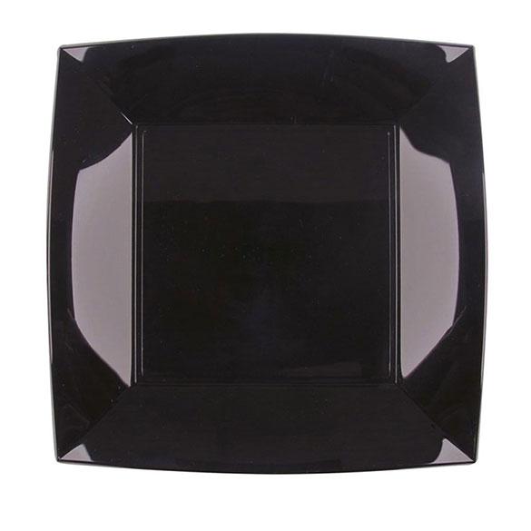 Platos negros lisos 23 x 23 cm, Pack 6 u.
