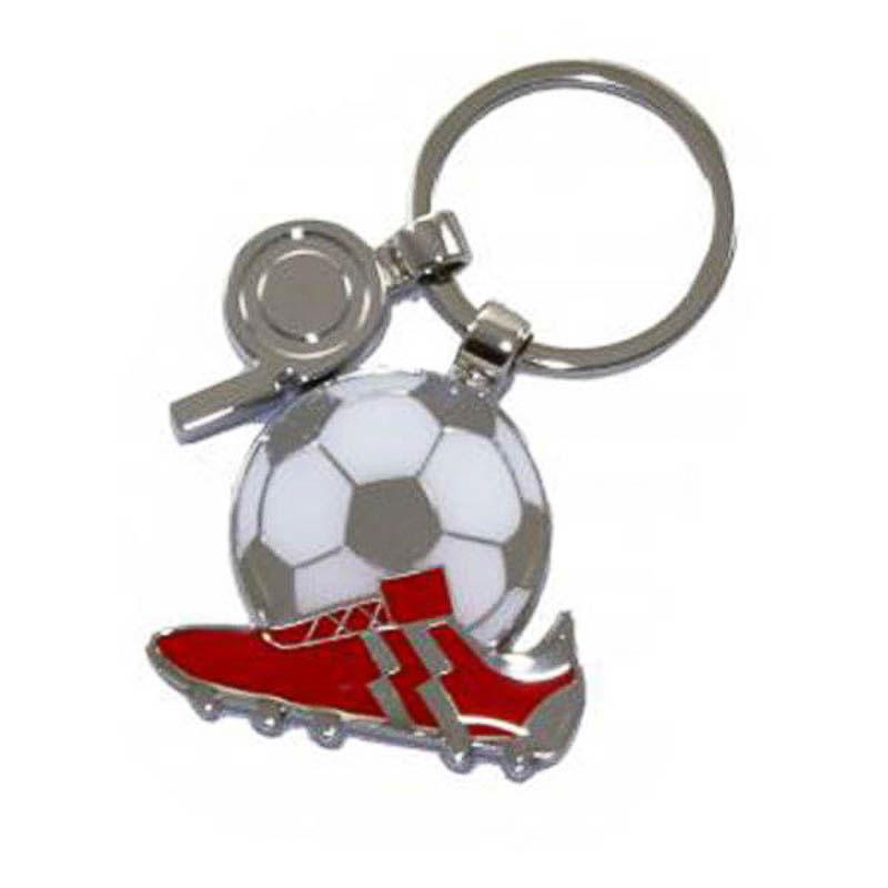 Llavero bota futbol roja con balón y silbato
