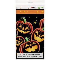Mantel Calabazas Halloween 213 x 137 cm plástico, Pack 1 u.