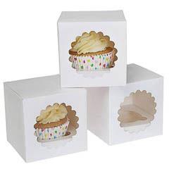 Cajas para 1 Cupcake con ventana, Pack 3 u.
