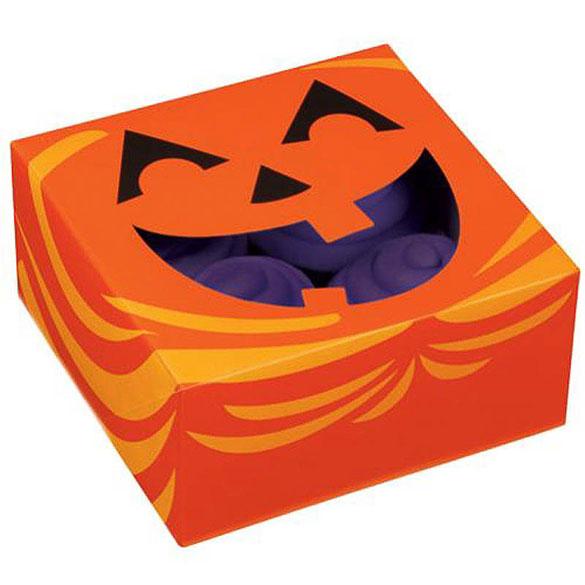 Cajas para 4 Cupcakes Jack-O-Lantern, Pack 3 u.